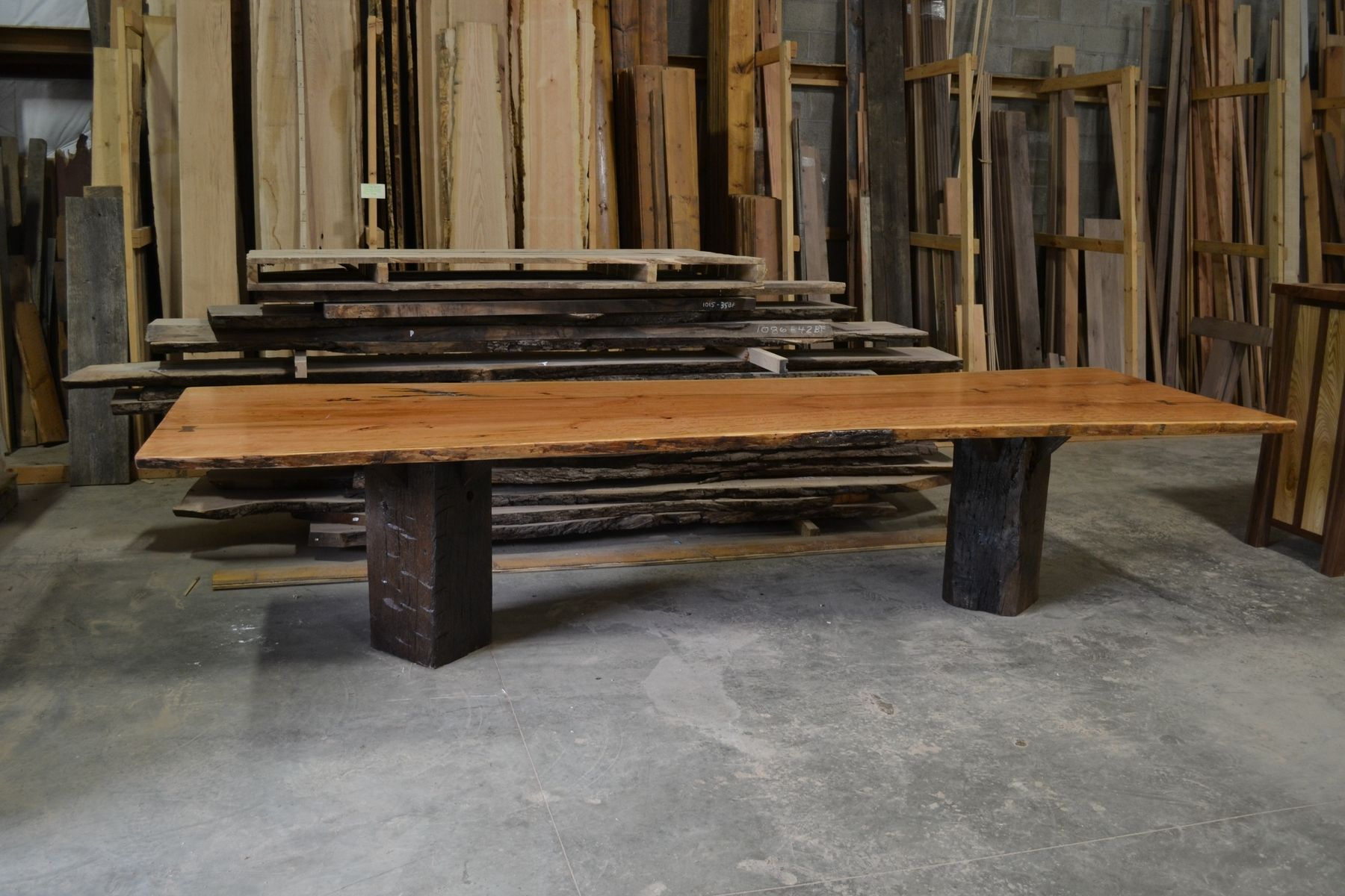 Hand Made Live Edge Cherry Slab Dining Conference Table With