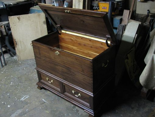 Custom Made Blanket Chest With Drawers (Black Walnut)