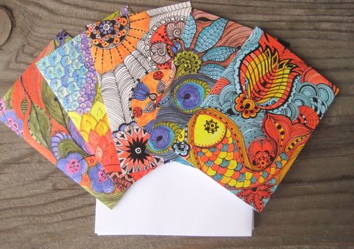 Custom Made Notecards Blank Inside Bright Colors-Set Of 5 Cards With Artwork Envelopes Included