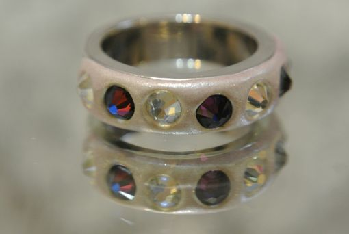 Custom Made Silver Plated Band With Crystal Clay And Swarovski Crystals