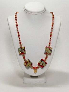 Custom Made Set - Red And Sand Necklace With Square Lampwork Beads And Matching Earrings