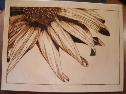 Custom Made Sunflower Pyrography Woodburn