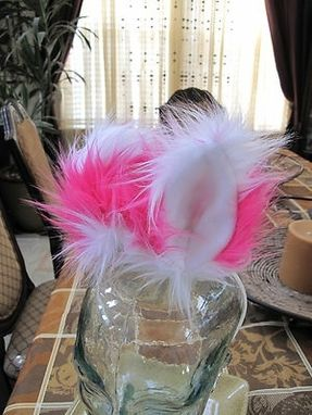 Custom Made Cheshire Cat Ears Luxury Shag White/Pink Faux Fur With Metal Snap Hair Clips