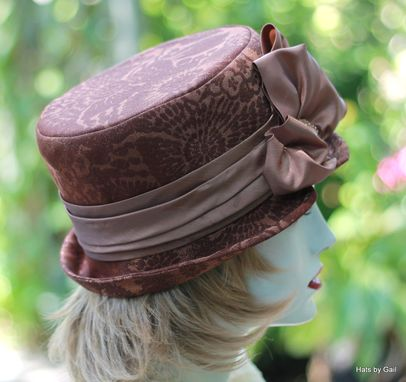 Custom Made Edwardian Victorian Steampunk Riding Bucket Hat In A Floral Brocade Fabric
