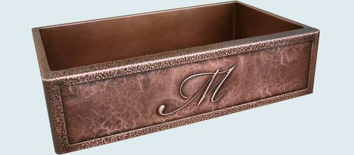 "Custom Made Copper Sink With Planished Apron & Repousse ""M"""