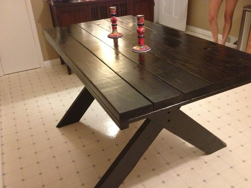 Custom Made 2 Tone Farm Table With Picnic Style Legs