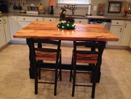 Custom Made Harvest Style Kitchen Island Made From Reclaimed Hardwood With Turned Legs Base