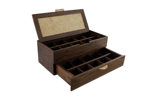 Custom Made 20 Watch Box With Sliding Drawer | Solid Walnut And Birdseye Maple