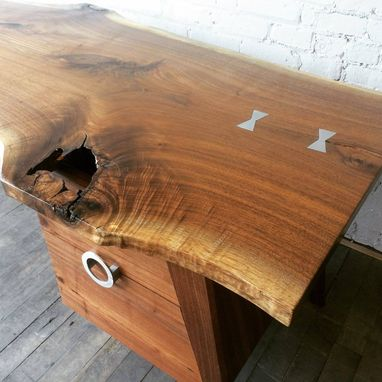 Custom Made Mid Century Modern Inspired Walnut Slab Desk