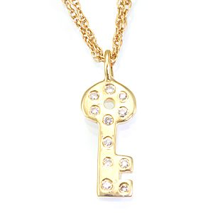 Custom Made Diamond Key Pendant In 14k Yellow Gold, Key Pendant, Diamond Pendant