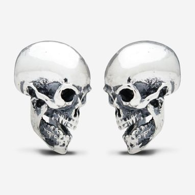Custom Made Sterling Silver Sided Skull Cufflinks