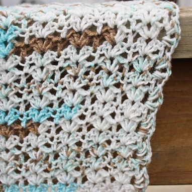 Custom Made Crochet Baby Blanket Lightweight Blue Brown White Shell