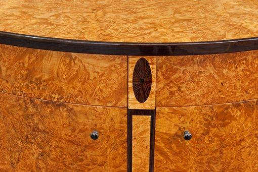 Custom Made Burled Demilune Cabinet