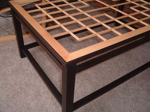 Custom Made Manny's Coffee Table 5101, Lattice Work And Glass Top