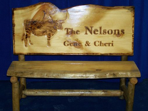 Custom Made Rustic Log Cattle Bench