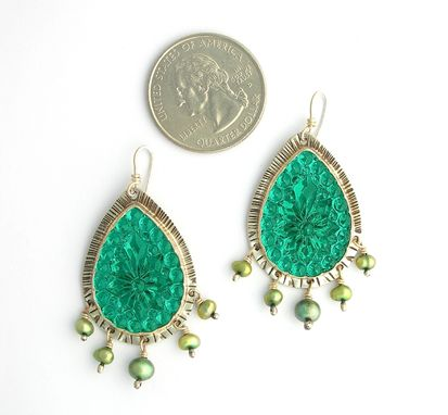 Custom Made Pear Shaped Vintage Glass Earrings