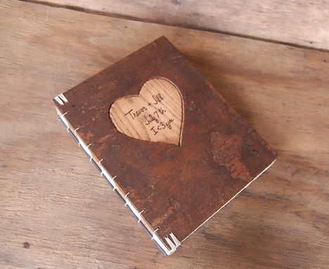Custom Made Carved Wedding Guest Book With Tree Bark Covers