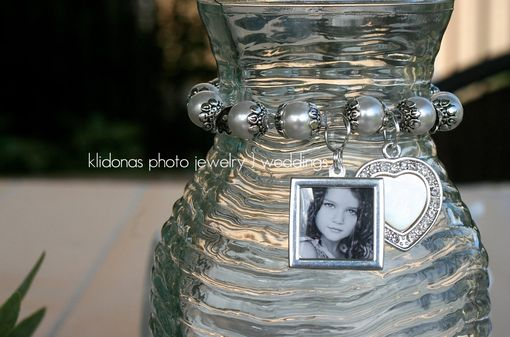 Custom Made Double-Sided Photo Bracelet With White Swarovski Pearls And Rhinestone Heart Charm For Mother Of The Bride