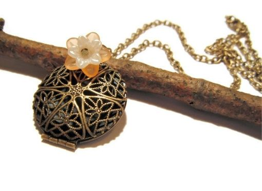 Custom Made Filigree Locket Necklace With Flower