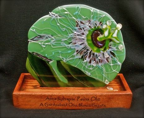 Custom Made Fused Glass Table Sculpture - Aina Kihapai Poina Ole (A Gardenland One Never Forgets)