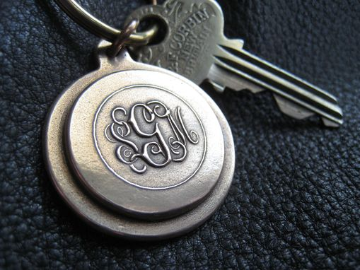 Custom Made Solid Bronze Monogrammed, Logo, Or Custom Keychain Fob With Solid Brass Split Ring
