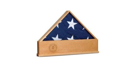 Custom Made Oak Us Flag Display Case With Engraved Us Air Force Emblem