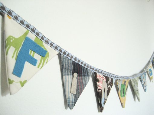 Custom Made Personalized Name Fabric Banner. Nursery Decor Cloth Pennant Flag Bunting