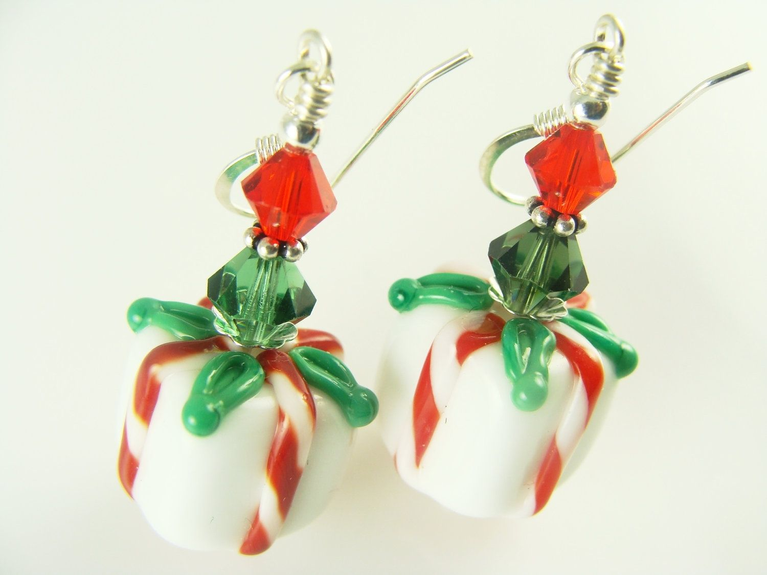 Custom Made Candy Cane And Christmas Themed Earrings