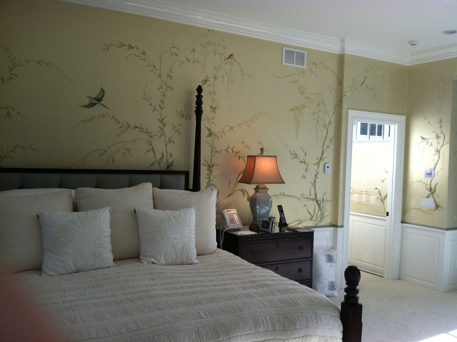 Master Bedroom Murals hand crafted hand painted mural- birds and fauna -master bedroom