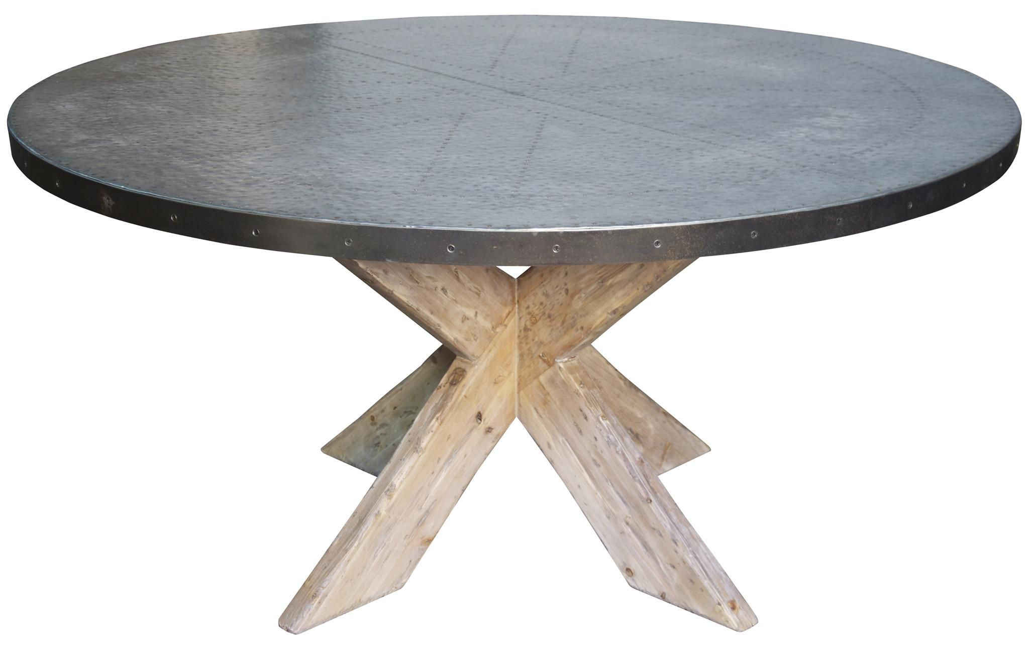 buy a custom hayward zinc top round dining table with x base, made