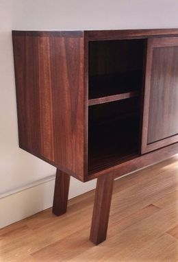 Custom Made Mid Century Modern Credenza With Sliding Doors