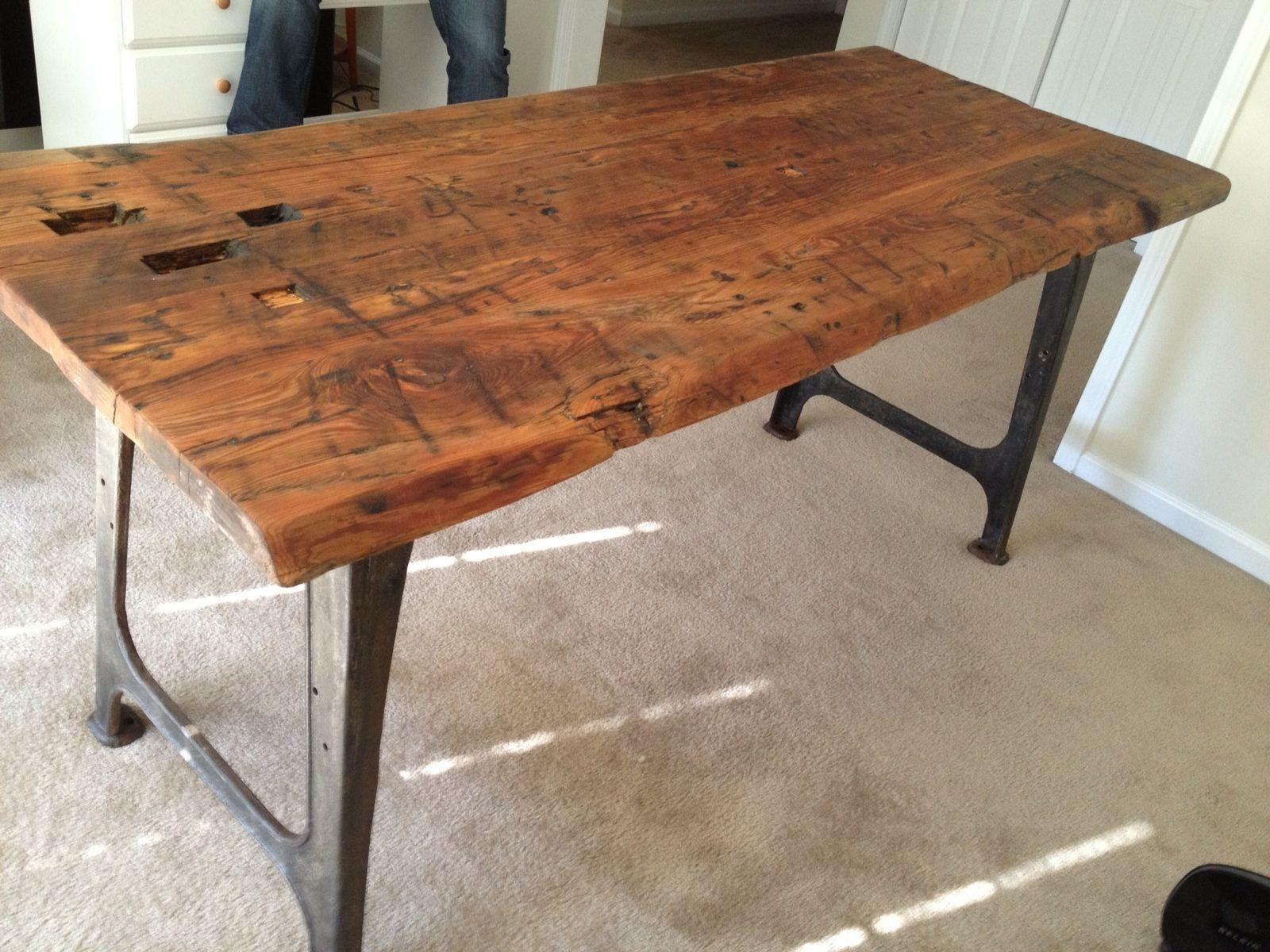 Hand Made Reclaimed Machine Leg Table By Elias Custom