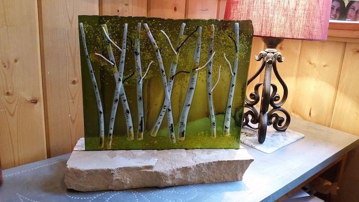 Custom Made Aspen Grove Fused Glass Panel Olive