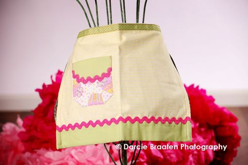 "Custom Made Celery Green, Pink, And Yellow Flannel Apron ""Lemon Meringue''"