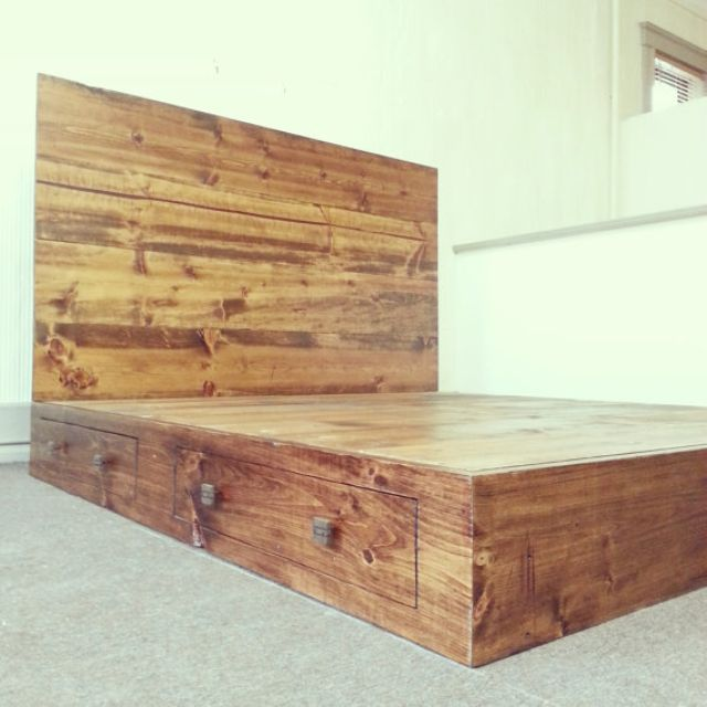 Hand Made Rustic Industrial Bed Frame With Headboard By Custom Timber Llc