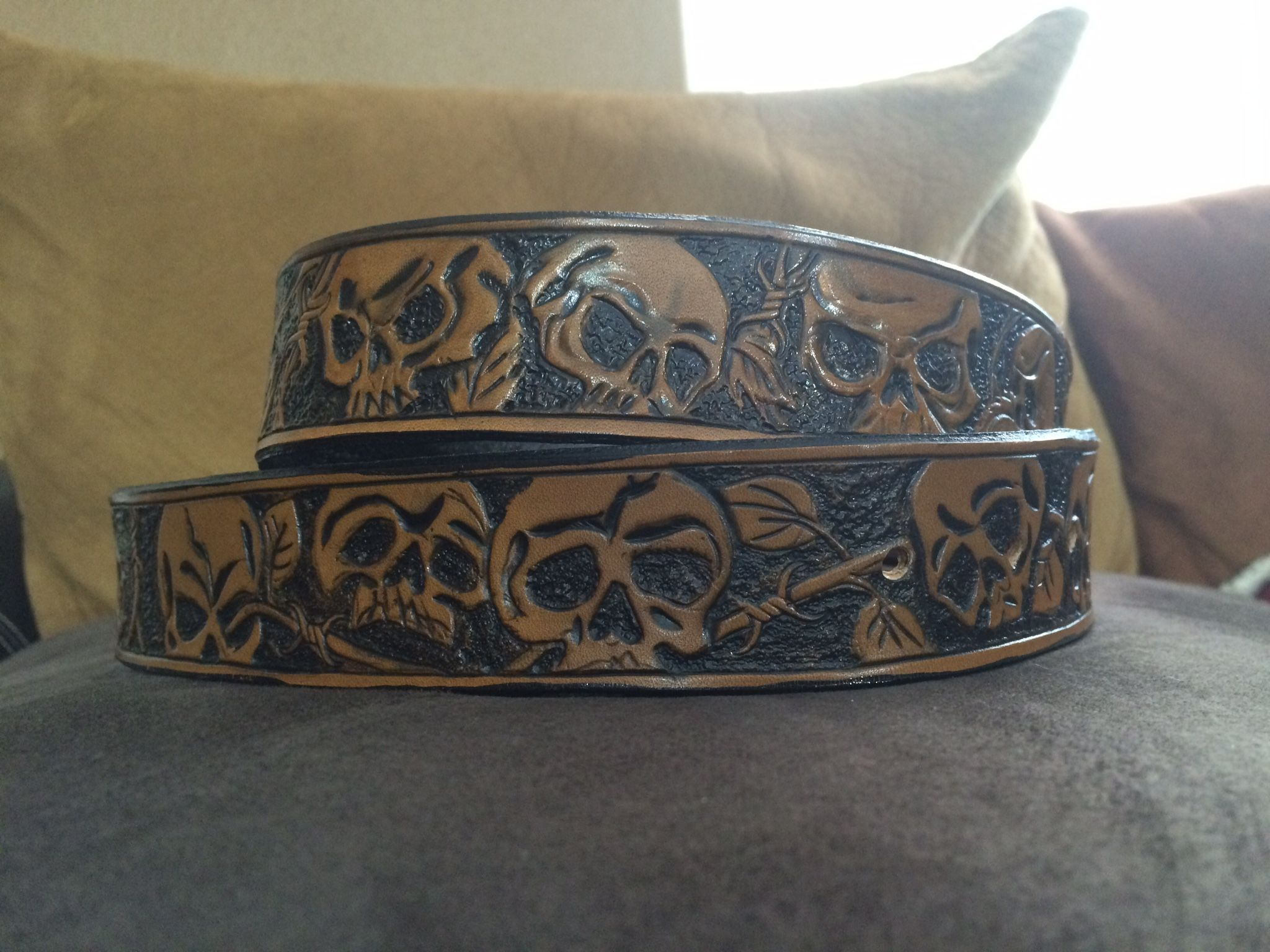 Custom belts custom and personalized leather belts custommade biker leather belt with skulls and barbed wire by kathleen fiorito gamestrikefo Gallery