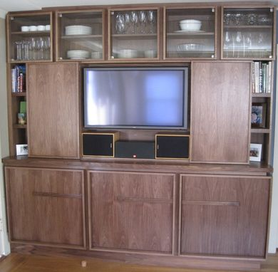 Custom Made Modern Walnut Bookcase With Tv And Storage
