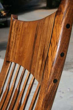 Custom Made Figured Teak Rocker With Ebony Accents