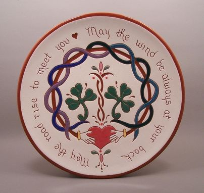 Custom Made Hand -Carved  Redware Irish Blessing Plate