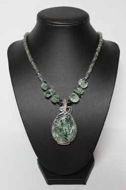 Custom Made Russian Seraphinite, Green Amethyst, Tourmaline And Labradorite Gemstone And Wire Wrapping Necklace