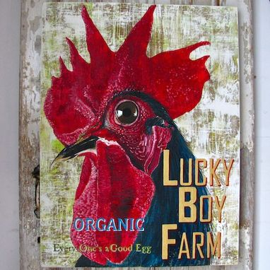 Custom Made Lucky Boy Farm, Original Acrylic Painting On Repurposed Wood Plank Panels