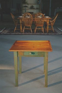 Custom Made Square End Table With Drawer. Fruitwood Top And Bayberry Legs