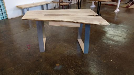 Custom Made Live Edge Ambrosia Maple Desk With Brushed Steel Legs