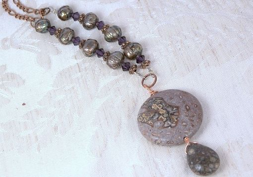 Custom Made Purple Leopard Skin Jasper Pendant Necklace Set