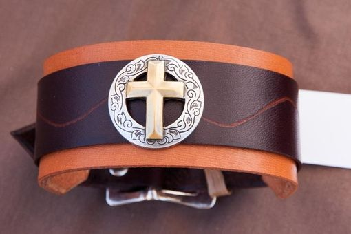 Custom Made Leather Cuff Bracelets Handmade Christian Cross