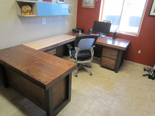 Custom Made Custom Desk Steel Walnut And Maple