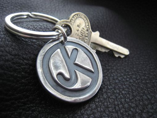Custom Made Sterling Silver Key Chain Key Ring Key Fob With Ranch Brand Or Logo -