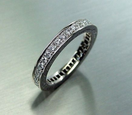 Custom Made Diamond Eternity Ring With Engraving On  The Side, White Gold