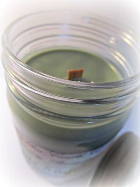 Custom Made Soy Candle, Citrus Sage, 12 Ounce In Jelly Jar With Daisy Cut Lid, Wood, Cotton Or Hemp Wick