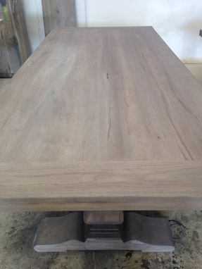 Custom Made Gray Wash Trestle Table W Extensions